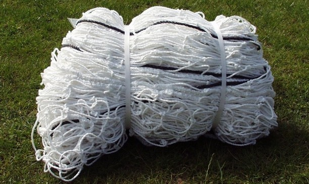 24'x8' Shaped Net (3mm Twine) - Knotted & Braided - larger 2.9m bottom run back ideal for freestanding goals.