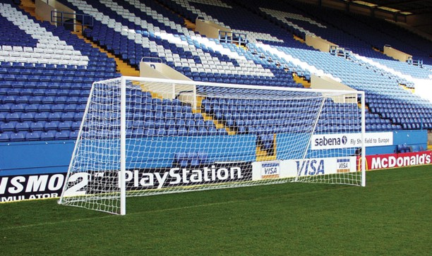 Portable adult football goal posts that can pack into a carry bag